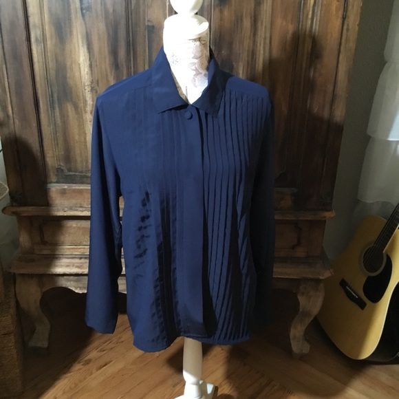 Tops - Navy Blue Business Blouse